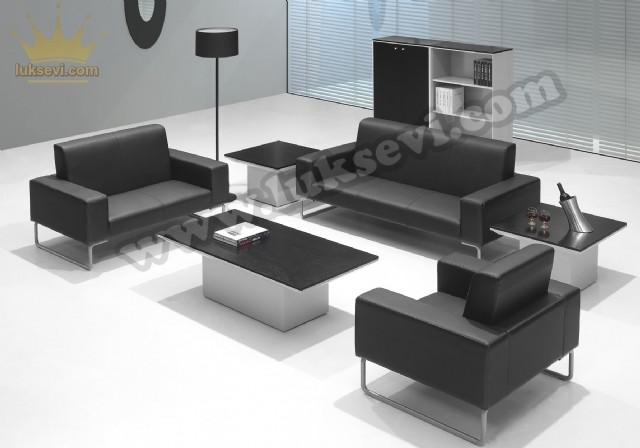 Deri Ofis Koltuk Takımı Lüks Modern Ofis Koltukları
