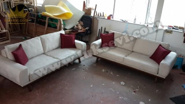 İstanbul Koltuk Takımı Yataklı Beyaz Özel Üretim Koltuk Takımları