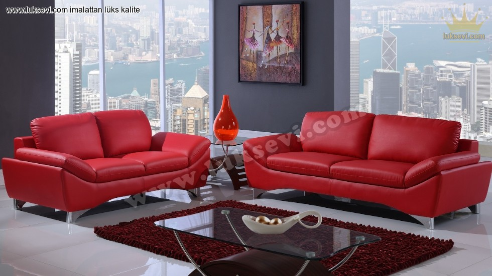 Kirmizi Deri Home Ofis Koltuk Takimlari Luxury Studio Sofas