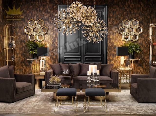 Kuvars Modern Koltuk Takımı Lüks Tasarım Kahverengi Zengin Renkler