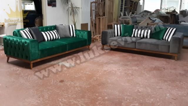 Modern Chester Koltuk Takımı Yeşil Gri Kadife
