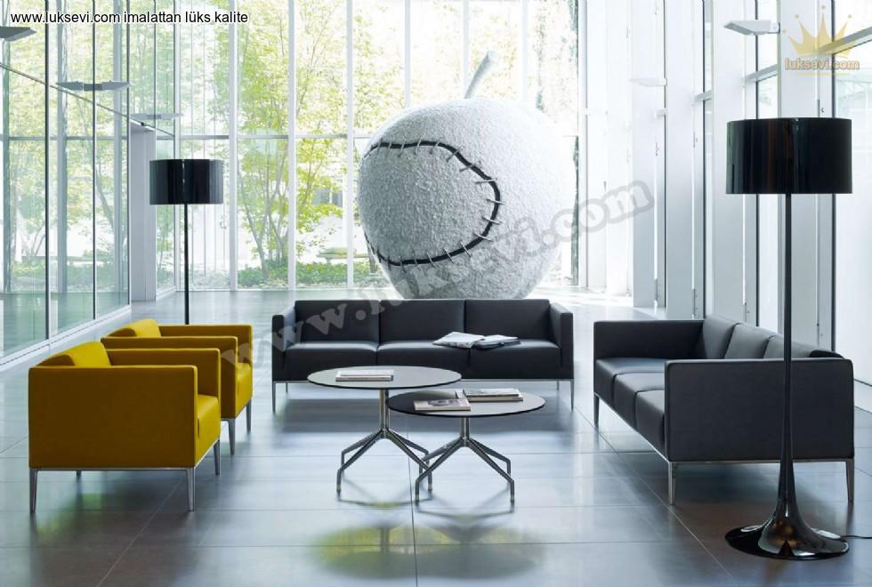 Siyah Sarı İddialı Ofis Koltuk Takımı Zarif Tasarım Deri