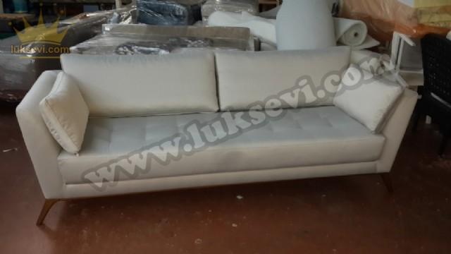Yumuşak Kadife Beyaz Kanepe Modeli Özel Üretim Kanepe