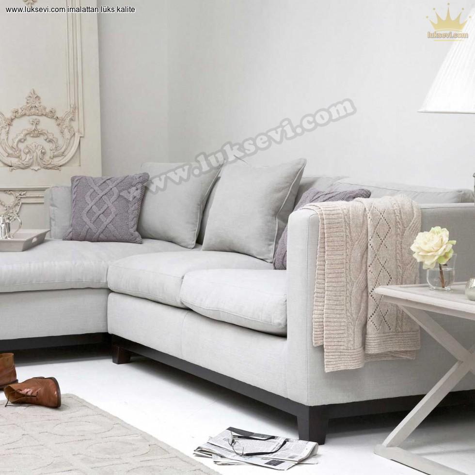 Resim No:9313 - Ahşap Bazalı Modern Köşe Koltuk Modeli Oturma Odası