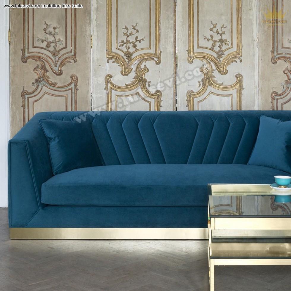 Resim No:9314 - Altın Renk Bazalı Modern Lüks Kadife Kanepe