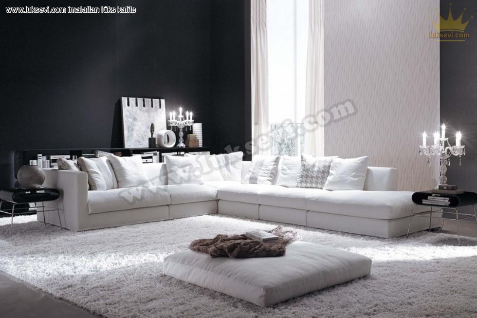 Resim No:1476 - Beyaz Konfor Relax Modern Köşe Koltuk Takımı
