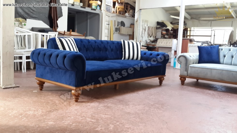 Resim No:7215 - Blue Velvet Chesterfield Sofa