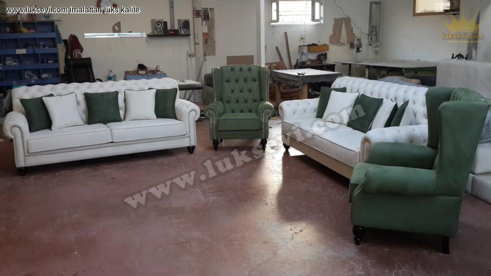 Resim No:2929 - Chester Koltuk Takımı Klasik Yeşil Beyaz