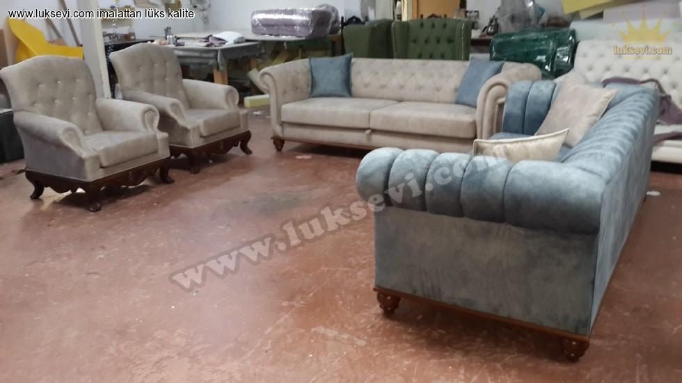Resim No:5585 - Chester Koltuk Takımı Özel Üretim Zengin Renk Seçenekleri