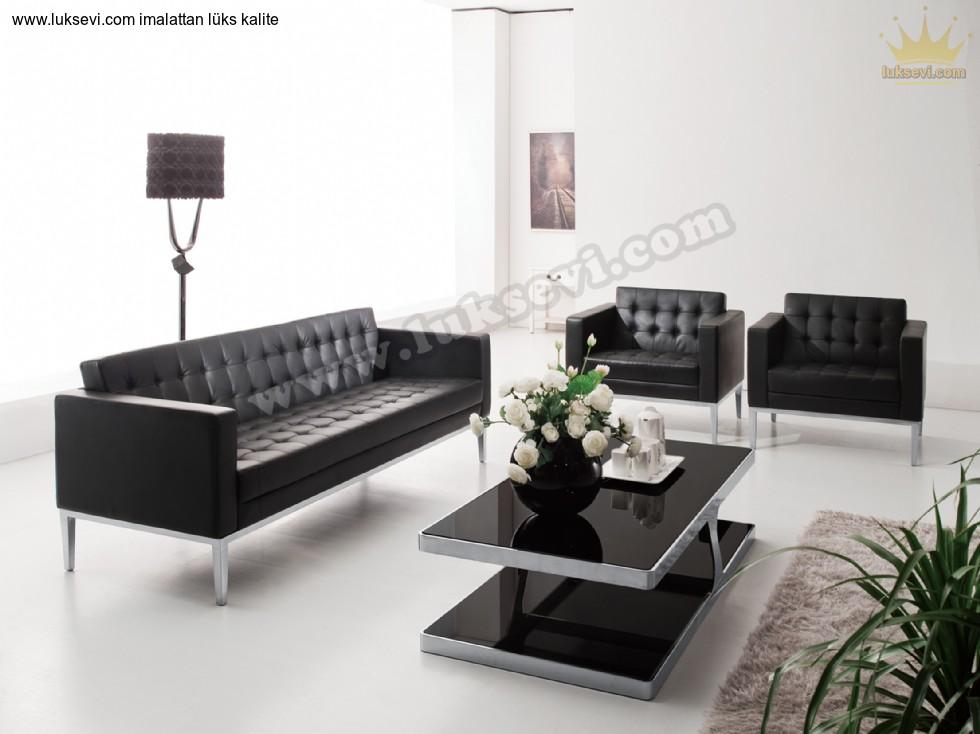 Resim No:6521 - Deri Ofis Koltuk Takımları Modern Tasarımlar