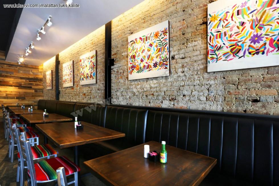 Resim No:6647 - Dilimli Cafe Sedir Koltukları Siyah Deri