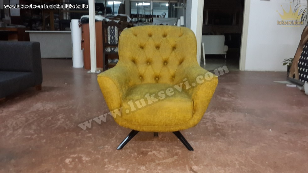 Resim No:6784 - Extra Rahat Sarı Renkli Berjer Kotluk