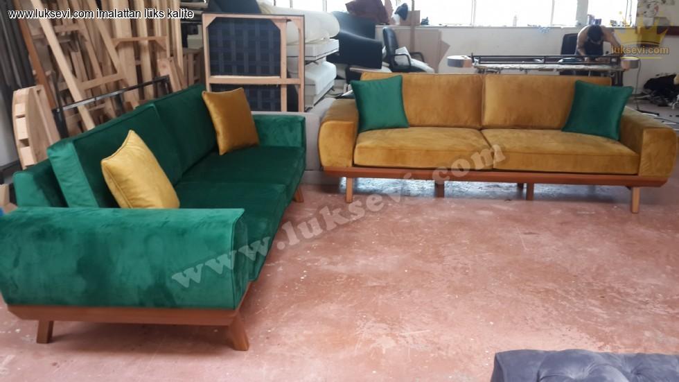 Resim No:7611 - Kadife Koltuk Takımı Yeşil Ve Sarı