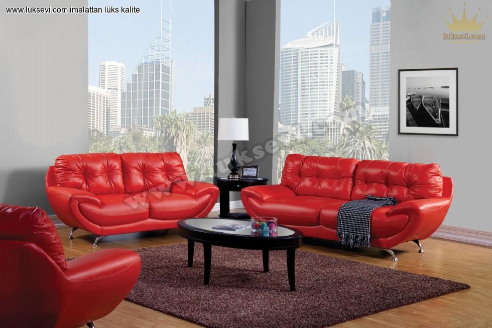 Resim No:6531 - Kırmızı Deri Home Ofis Koltuk Takımı