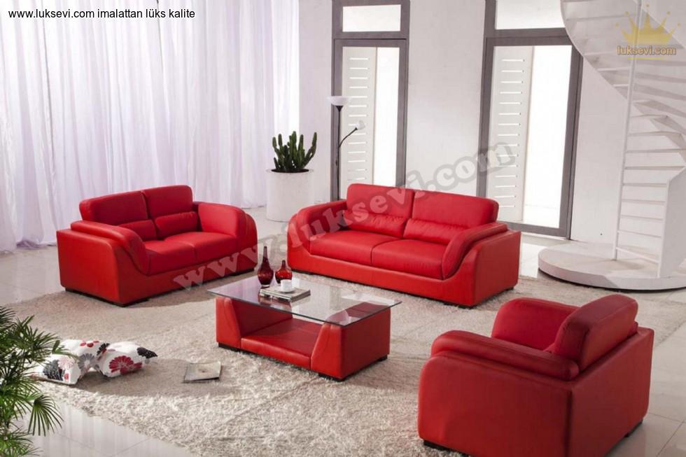 Resim No:6530 - Kırmızı Deri Luxury Studio Koltuk Takımı