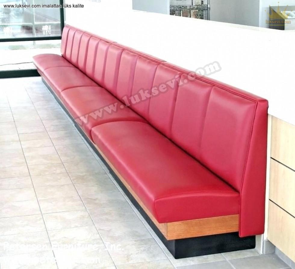 Resim No:6623 - Kırmızı Deri Sedir Koltuk Cafe Restoran