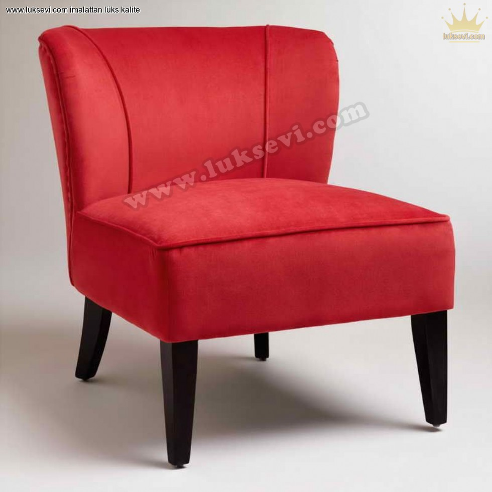 Resim No:6772 - Kırmızı Kadife Mini Berjer Koltuk Kolçaksız