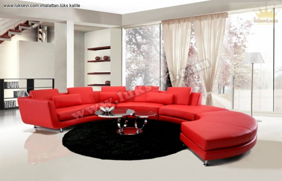 Resim No:7533 - Kırmızı Yuvarlak Koltuk C Koltuk Modeli