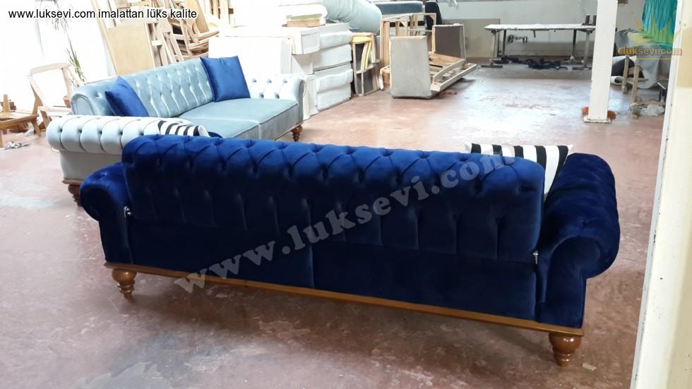 Resim No:7214 - Lüks Baklava Dilimli Koltuk Takımları Mavi Kadife