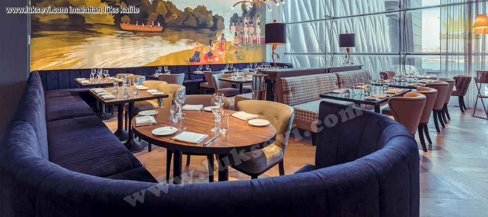 Resim No:6612 - Lüks Modern Restoran Masa Sandalye Sedir Koltuk Tasarımı