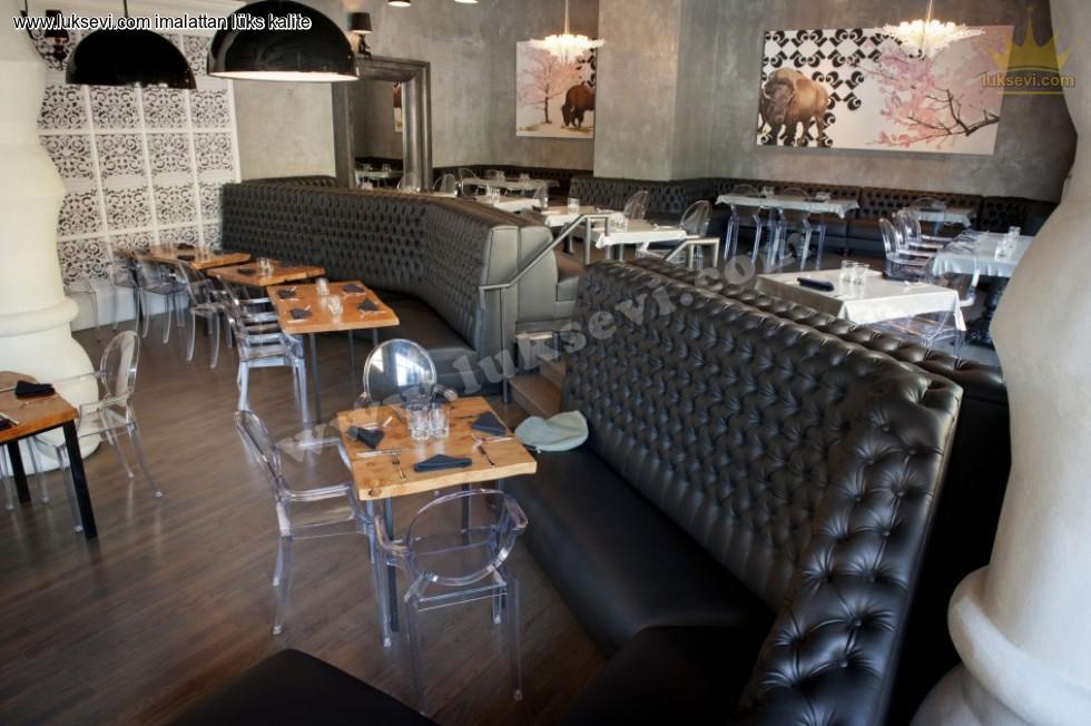 Resim No:6713 - Lüks Restoran Deri Sedir Koltuklar Chester Sedir Koltuk
