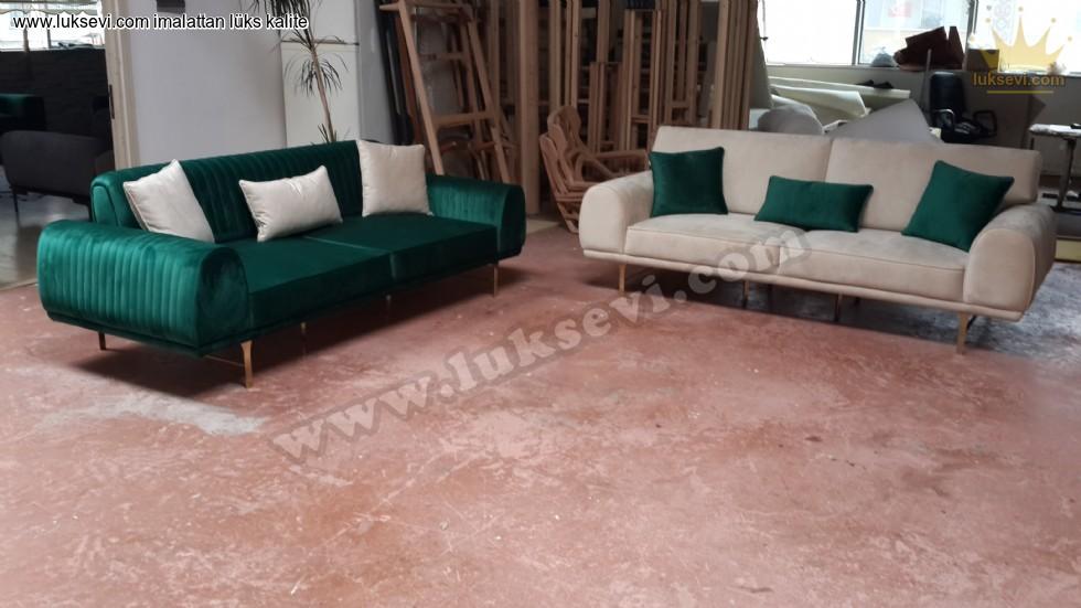 Resim No:7410 - Luxury Koltuk Takımı Yeşil Beyaz Kadife