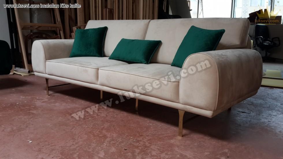 Resim No:7412 - Luxury Üçlü Kanepe Yataklı Bej Renkli Kadife