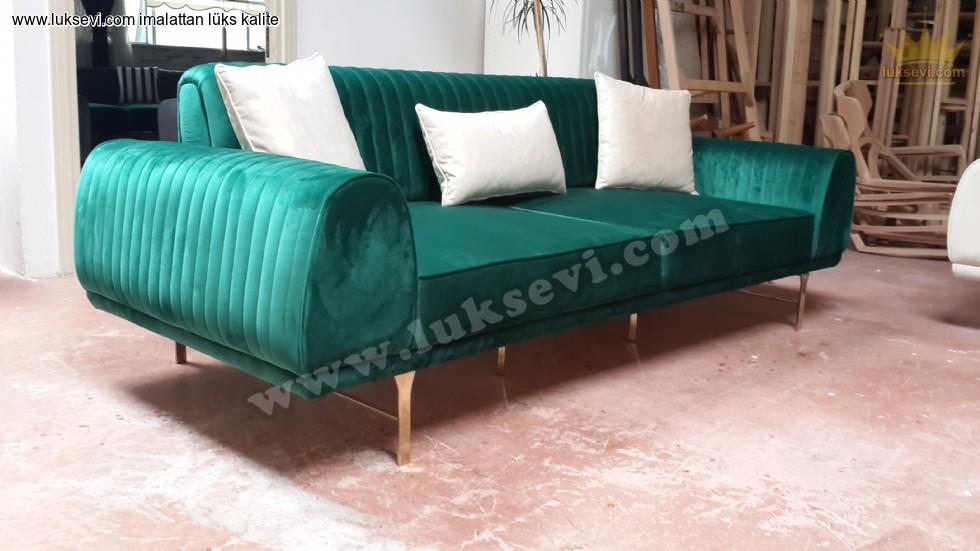 Resim No:7411 - Luxury Yeşil Kadife Üçlü Kanepe Yataklı