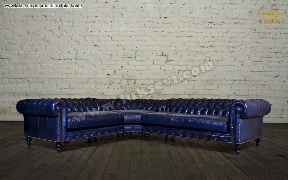 Resim No:5412 - Mavi Deri Chester Köşe Takımı Klasik Lüks Köşe Takımları