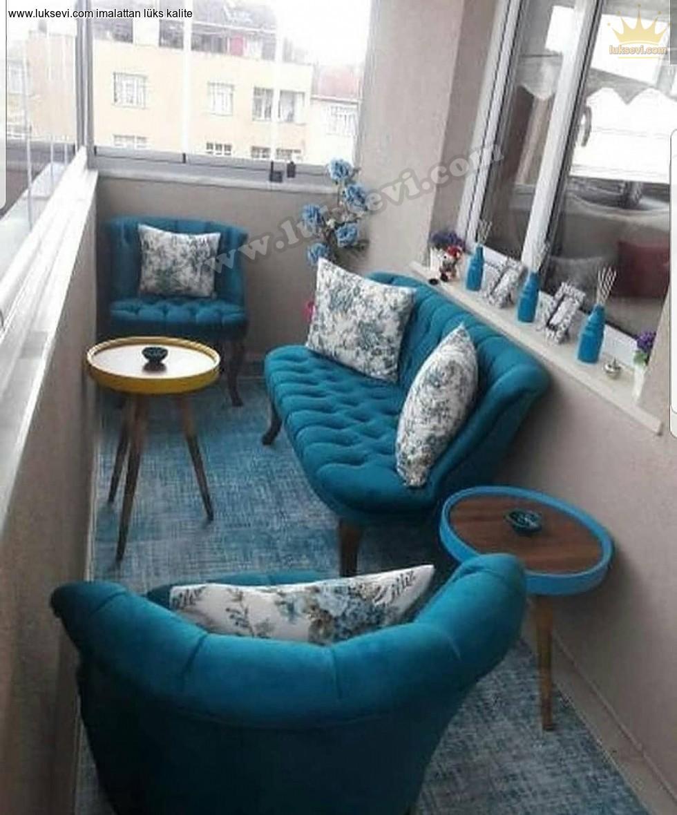 Resim No:5622 - Mavi Renk Balkon Koltuk Takımı