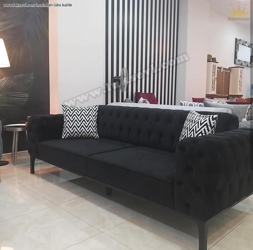 Resim No:3127 - Modern Chester Üçlü Kanepe Siyah Renkli