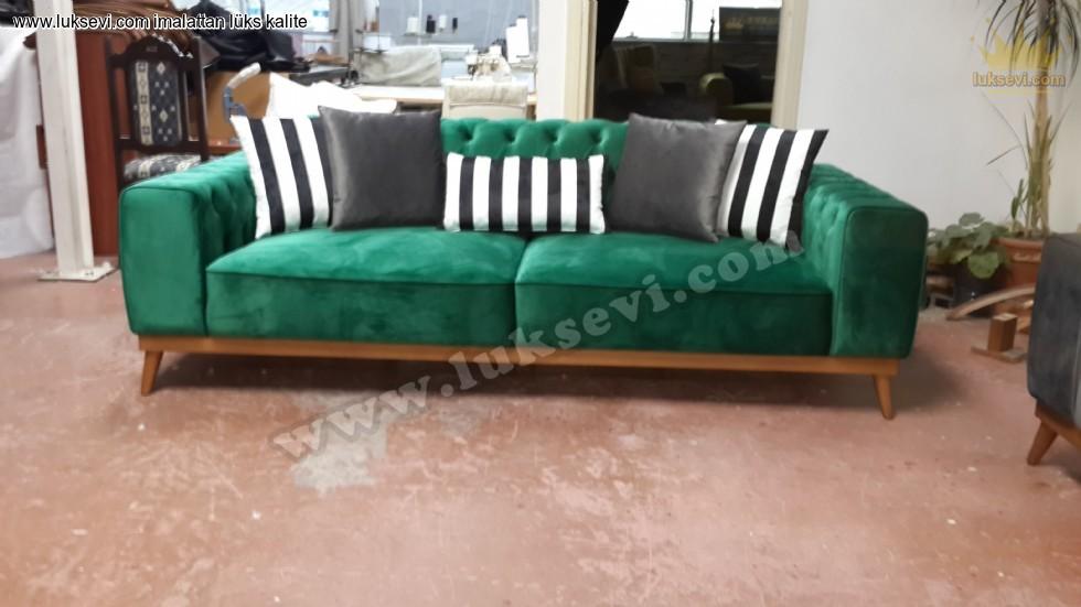 Resim No:7069 - Modern Chester Üçlü Kanepe Yeşil Renkli