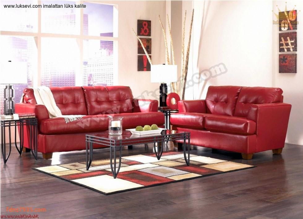 Resim No:6529 - Modern Kırmızı Deri Koltuk Takımı