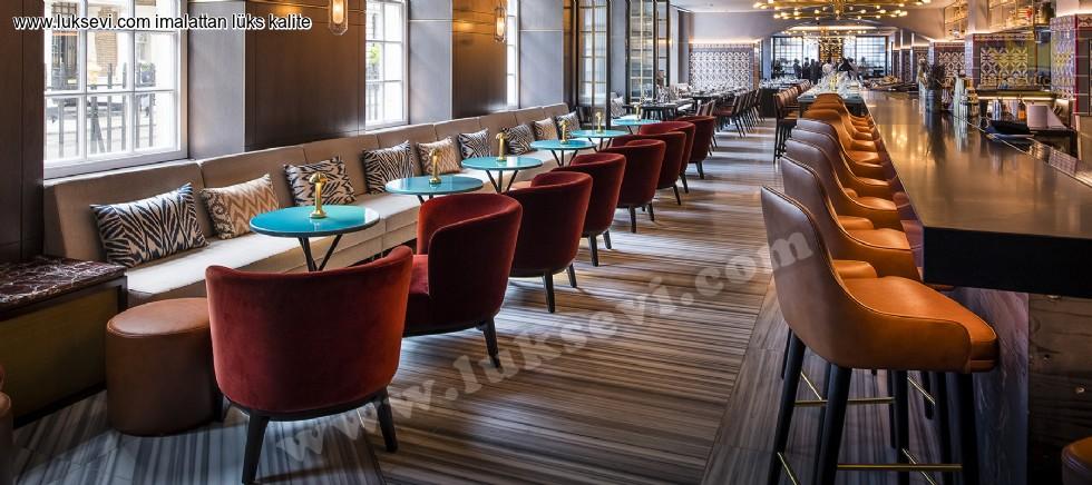 Resim No:6611 - Modern Lüks Restoran Masa Sandalye Sedir Koltuk Tasarımı