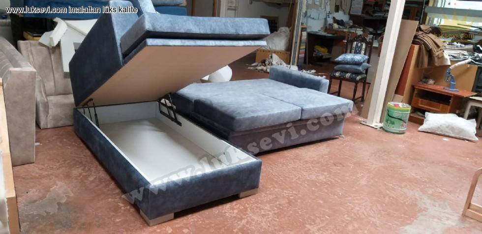 Resim No:7792 - Modern Yataklı Sandıklı L Köşe Koltuk - Exclusive Sectional Sofabeds