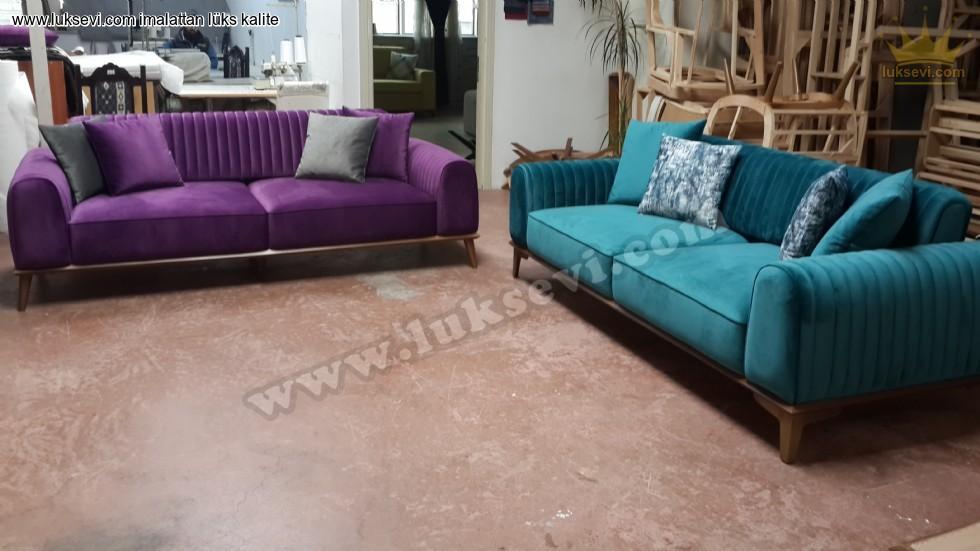 Resim No:7034 - Mor Ve Turkuaz Renkler Modern Koltuk Takımı