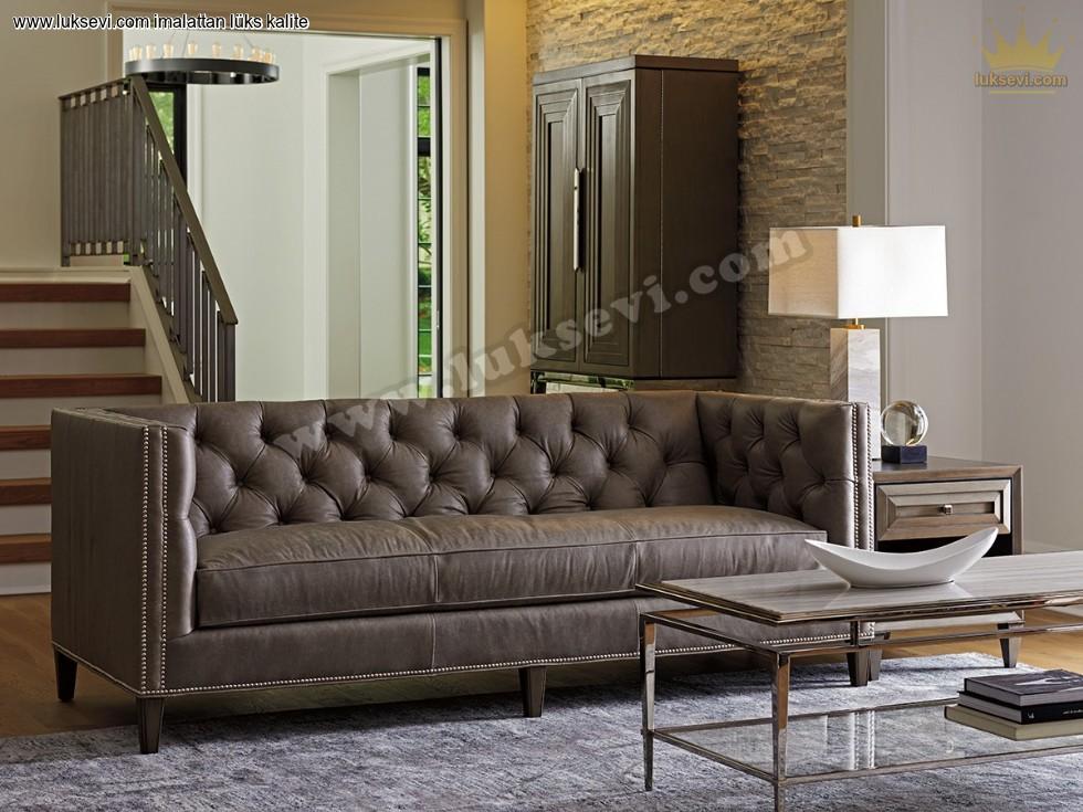 Resim No:6680 - Otel Modern Chester Kanepe Deri Koltuk