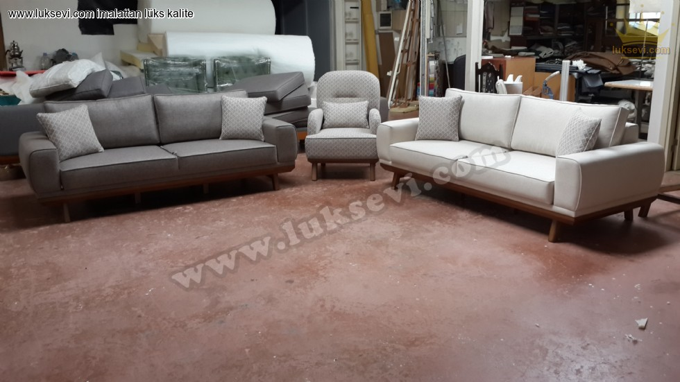 Resim No:7115 - Özel Üretim Modern Koltuk Takımı Modelleri Gri Bej Beyaz Renkler