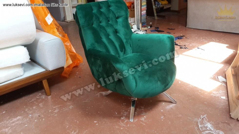 Resim No:6787 - Prada Berjer Koltuk Yeşil Kadife