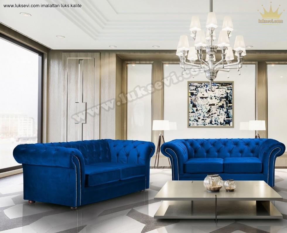Resim No:7184 - Ruby Koltuk Takımı Mavi Renk