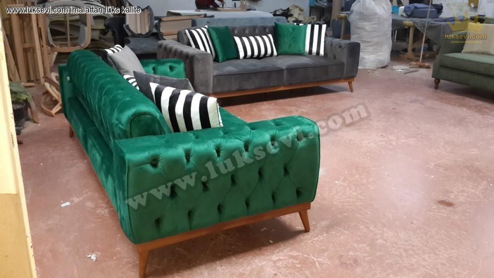 Resim No:7068 - Yataklı Modern Chester Koltuk Takımı Yeşil Ve Gri Renkli Kadife