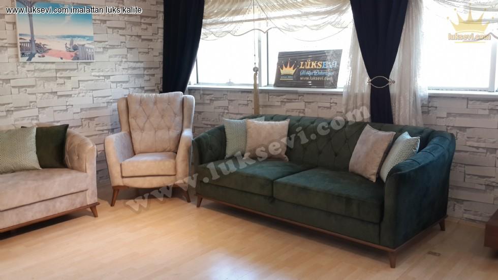 Resim No:5611 - Yeşil Beyaz Oturma Grubu Yataklı Koltuk Takımı