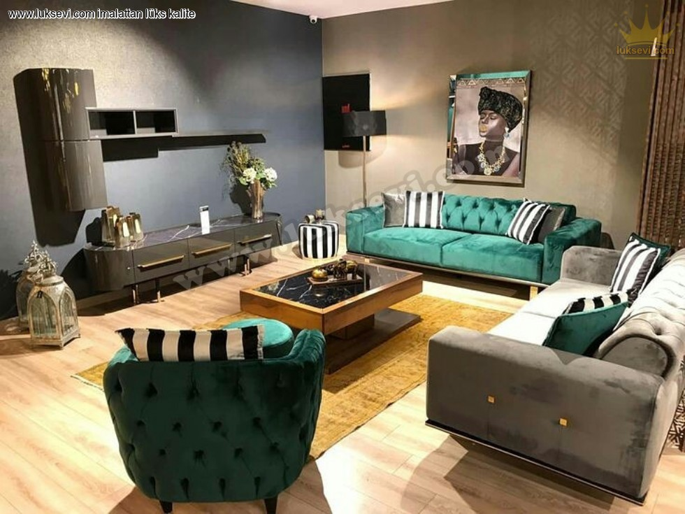 Resim No:5614 - Yeşil Gri Modern Chester Koltuk Takımı
