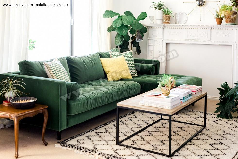 Resim No:7226 - Yeşil Köşe Koltuk Takımı Modern L Köşe Takımı