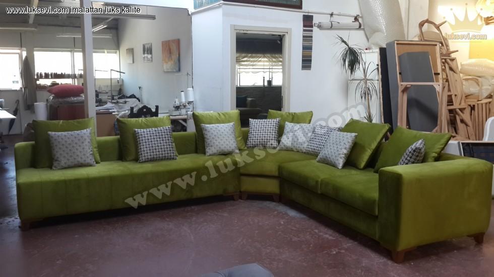 Resim No:7177 - Yeşil Köşe Koltuk Takımı Modern Tasarım Özel Ölçü