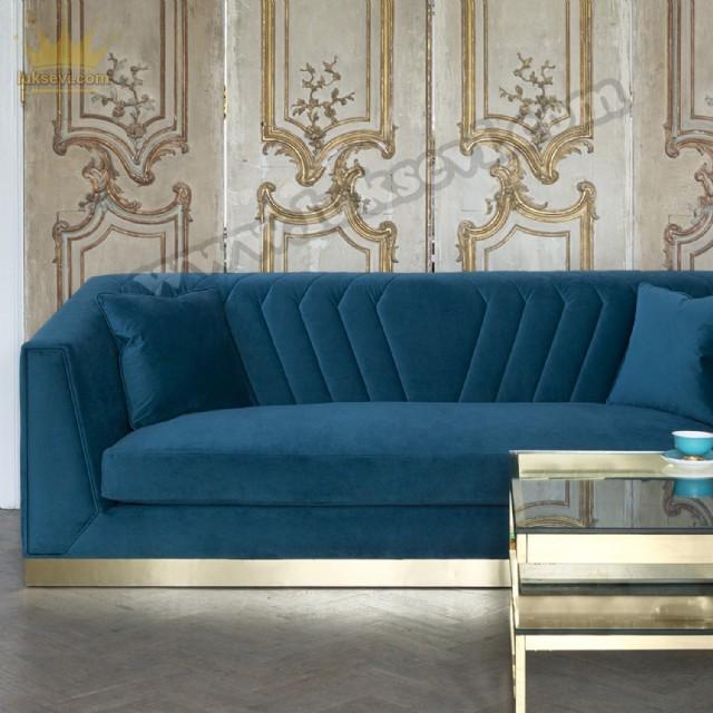 Altın Renk Bazalı Modern Lüks Kadife Kanepe