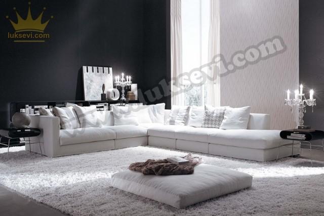 Beyaz Konfor Relax Modern Köşe Koltuk Takımı