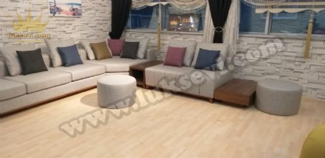 Gri Renkli Modern Salon Köşe Koltuk Takımı Sehpalı Modüler Özel Üretim