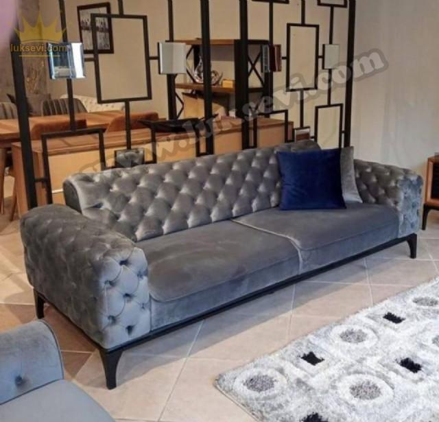 Gri Renkli Modern Yataklı Chester Üçlü Koltuk