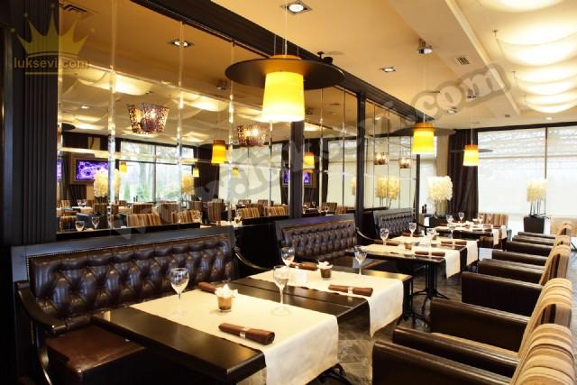 Hakiki Deri Restoran Koltukları Masa Ve Sandalyeler